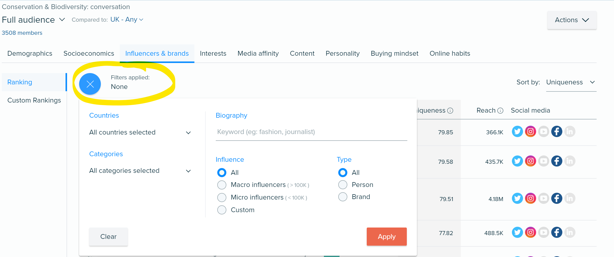 4 BuyerPersona Influencers Filter