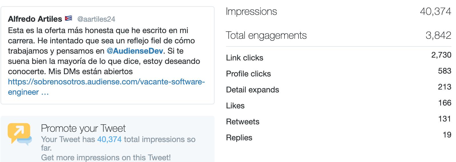 Audiense - Recruiting Campaign - Organic Tweet - Tweet Analytics