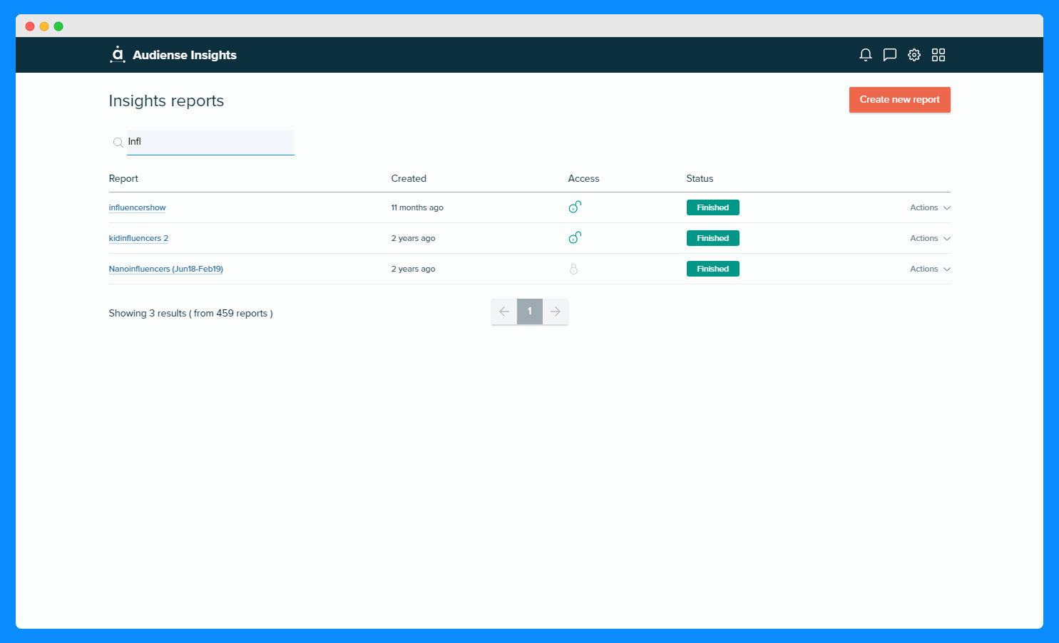 Audiense Insights - New Feature - Search for a report by its title