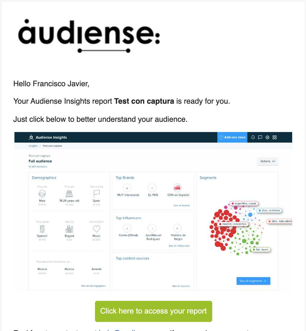 Audiense Insights - report summary image automatically embedded in Report ready email