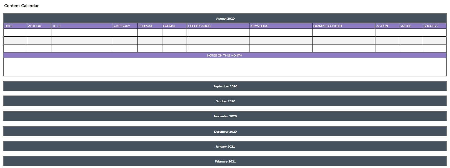 Content Calendar - Macro Digital Strategy Planner