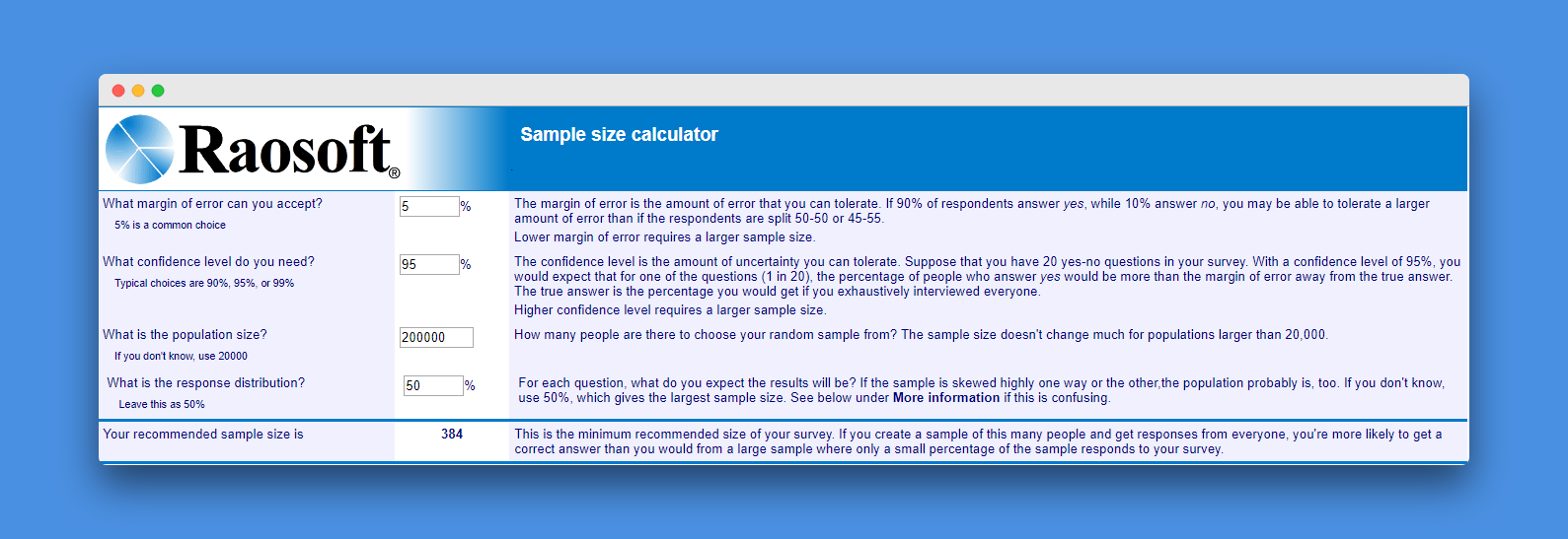 Sample size calculator by Raosoft