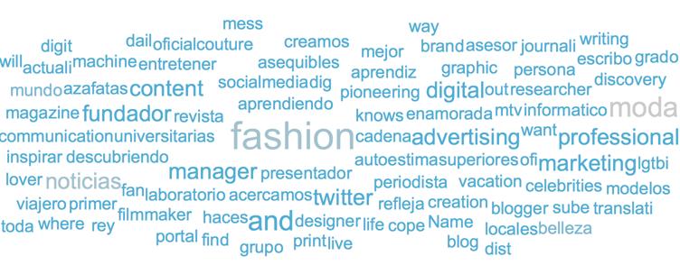 Núvol d'etiquetes basada en la biografia de les audiències de l'# MBFWM16 de febrer (més blau) i setembre (més gris)