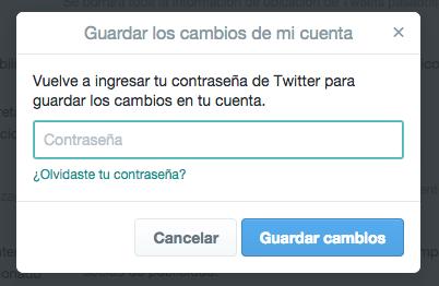 Introducir de nuevo tu contraseña para confirmar que quieres proteger tus tuits