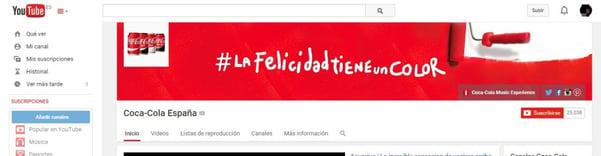 #LaFelicidadTieneUnColor de Coca Cola Cabecera YouTube